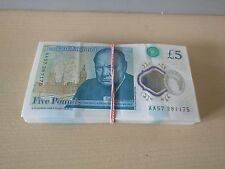 New Bank of England Polymer £5 Five Pound Note Genuine AA serial Number