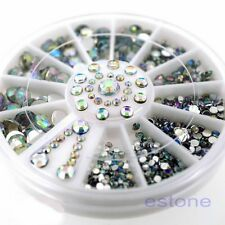 Acrylic Clear & AB Color Rhinestone Glitter Nail Art Decoration ( 1wheel box )