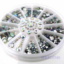 Acrylic Clear & AB Color Rhinestone Glitter Nail Art Decoration ( 1wheel box )