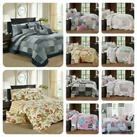 Patchwork Quilt Bedspread Single Double King Size Bedding Set Pink Quilted Throw