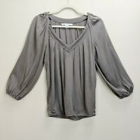 Diane von Furstenberg Sz 2 Cahil Pleated Balloon Sleeve Top Taupe Blouse Silk