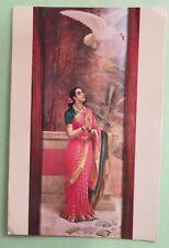 Vintage Raja Ravi Varma SWAN MESSENGER story telling picture postcard C1970-80
