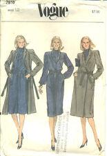 Vogue 7818 sewing pattern Stylish DRESS TIE Wrap COAT BELT sew Smart ENSEMBLE 12