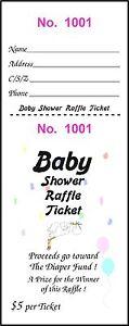 100 BABY SHOWER RAFFLE TICKETS Diaper Fund gets $500.00 Money Child Fun Party