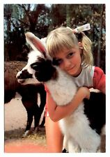 Baby Llama Postcard Catskill Game Farm New York Girl Hugging Animal