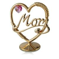 24K Gold Plated Mom In A Heart Ornament with a Pink Crystal by Matashi®