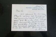 NATIONAL LIBERAL CLUB SIGNED  HEADED CARD