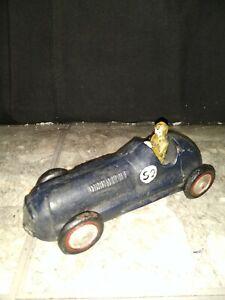 Vintage Cast Iron Toy Race Car # 52 Dark Blue/Black Yellow Driver