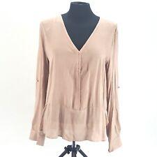 Womens Silk Tan Blouse Curved V-Neck Wide Hem Cuffed Sleeve w/ Buttons Sz L