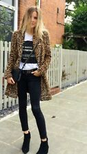 ZARA AW16 Animal Print Faux Fur Long Coat Size L Uk 12 Genuine Zara