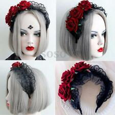 Womens Lace Black Red Rose Flower Cosplay Headband Hair band Handmade Gothic