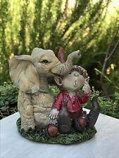 Miniature Dollhouse FAIRY GARDEN ~ Boy PIXIE Relaxing with Elephant ~ NEW