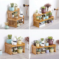 2 Tier Plant Stand Flower Display Shelf Rack Wooden Bamboo Garden Organizer  ~