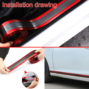 1 Roll Carbon Fiber Red Car Door Sill Scuff Plate Guard Pedal Protector Strips