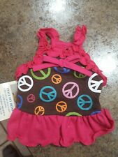 "East Side Collection""Peace Out"" Bright Pink and Brown Dog Pet Puppy Dress Teacup"