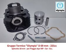 Gruppo Termico Cilindro + Pistone Olympia D69 = 225cc per Piaggio Ape Car P2/P3