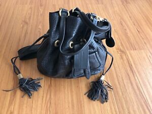 Lancel Black Croc Embossed Leather Premier Flirt Bucket Bag