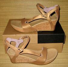 NEW Teva Capri Wedge Tan Leather Sandals Shoes WOMENS 9