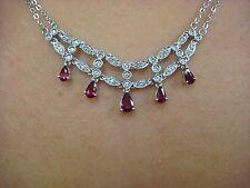 """SPECTACULAR GENUINE DIAMONDS & TEAR DROP RUBIES DESIGNER NECKLACE, 17"""" LONG"""