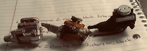 model car junkyard/ or parts taken from a built kit (3) engines chrome. 2 Chevy