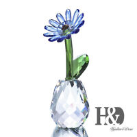 Crystal Art Decor Blue Daisy Flower Design Figurine Valentine Wedding Lady Gifts