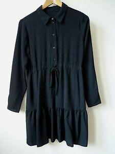 Ex New Look Black Collared Drawstring Waist Tiered Hem MiniShirt Dress Size8-16
