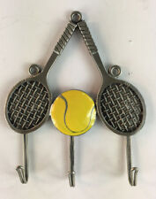 "Pewter Wall Mounted Key Holder Tennis Racquets & Ball (4.5"" x 3.5"")"