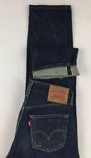 Levis 501 Raw Denim Jeans Selvedge Redline Dark Wash Leather Tag 30 X 34 (28x31)