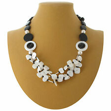Necklace Black White Layered Multi Strand Bib Mother Of Pearl Wood