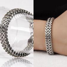 Men's Women's Bracelet Link Chain Curb Cuban Sliver Tone 316L Stainless Steel