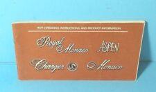 77 1977 Chrysler Royal Monaco/Aspen/Charger SE/Monoco owners manual ORIGINAL