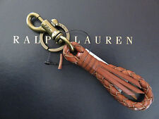 NEW RALPH LAUREN POLO Braided Leather FOB Key Chain Keychain Key Ring