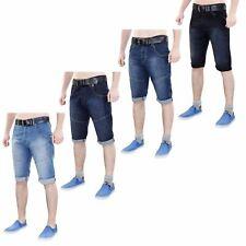 Hommes Crosshatch Short Jeans Revers Coton Stretch Bermuda Sans Ceinture 30-36