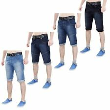 Mens Crosshatch Denim Shorts Turn Up Cotton Stretch Bermuda Free Belt 30-36