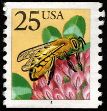 US - 1998 - 25 Cents Honeybee Coil # 2281 Plate # Single Plate # 1 w Truncated #