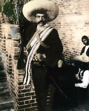 "EMILIANO ZAPATA SALAZAR MEXICAN REVOLUTION 8x10"" HAND COLOR TINTED PHOTOGRAPH"