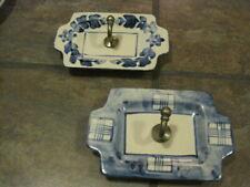 Wall Hooks ~ Ceramic Plate ~ Metal Hook ~ Blues, Bath / Kitchen, Set Of (2), Euc