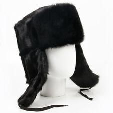 Men's Mink Russian Ushanka Winter Hat in Black Ear Flap Hat SIZE M (56-58)