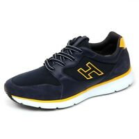 D0120 sneaker uomo HOGAN H254 T2015 scarpa H flock blu scuro shoe man