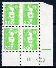 TIMBRE DE  FRANCE NEUF COIN DATE N° 2621 ** EN BLOC DE 4 /////  18/04/1990