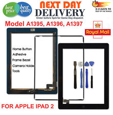 For iPad 2 Black Touch Screen Digitizer Front Glass Replacement + Home Button IC