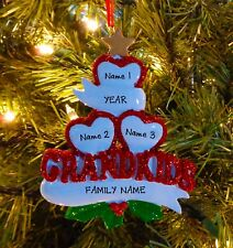 Grandparents Grand Kids Hearts With 3 Children Personalized Christmas Ornaments