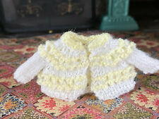 Vintage Miniature Dollhouse Artisan Wearable Girls Yellow White Knitted Sweater