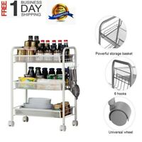 Kitchen Storage Shelf Stainless Steel Chrome 3 Tier Shelves Rack Cart With Wheel