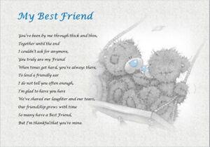 BEST FRIEND GIFT  ( laminated poem gift) - WRITTEN BY SELLER