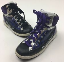 Women's SOUTHPOLE  Hi-Top Black Silver Purple Zebra Size 8.5 Eur 39.5 Shoes(AA1)
