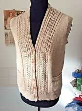 hand-knitted ~ natural beige color wool blend sleeveless buttoned cardigan M 38""