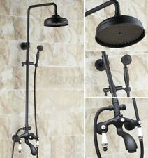 Black Oil Rubbed Brass Shower Faucet Tub Mixer Tap 8-inch Shower Head 8rg131