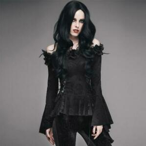 Womens Steampunk Gothic Off Shoulder Falbala Bell Sleeves Blouse Shirt Top SKGB