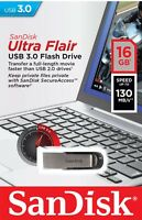 SanDisk Ultra Flair 16/32/64 GB USB 3.0 Flash Drive High Speed Memory Stick-UK